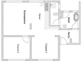 Prime Rentals Apartments Sofia - Floor plan of the two bedroom apartment at 38 Denkoglu Street