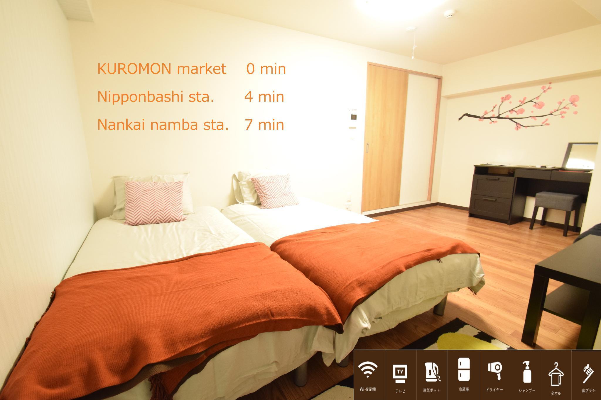 SandW 1 Bedroom Apt Near Kuromon Market 203