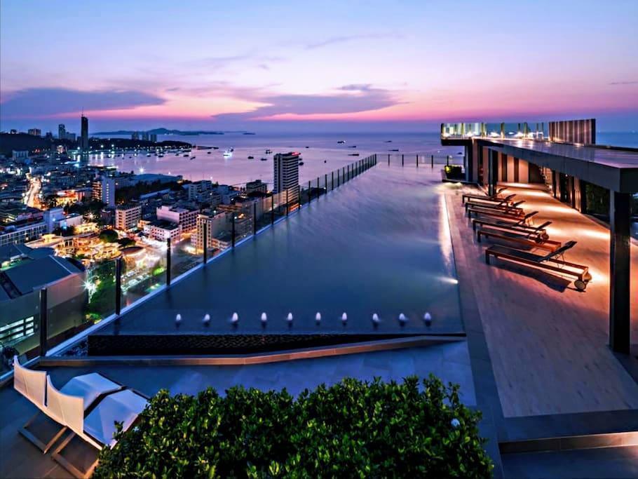 Central Location 300M to Beach/Sky Pool/ Gym อพาร์ตเมนต์ 1 ห้องนอน 1 ห้องน้ำส่วนตัว ขนาด 30 ตร.ม. – พัทยากลาง