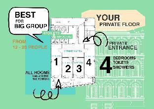 Private Floor 4 BR&4Bath, Best Location Old Town อพาร์ตเมนต์ 4 ห้องนอน 4 ห้องน้ำส่วนตัว ขนาด 72 ตร.ม. – ข้าวสาร