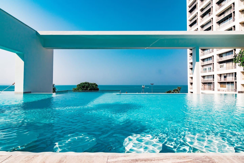 Aeras Sea View Infinity Pool & Luxury Fac Netflix อพาร์ตเมนต์ 1 ห้องนอน 1 ห้องน้ำส่วนตัว ขนาด 30 ตร.ม. – หาดจอมเทียน