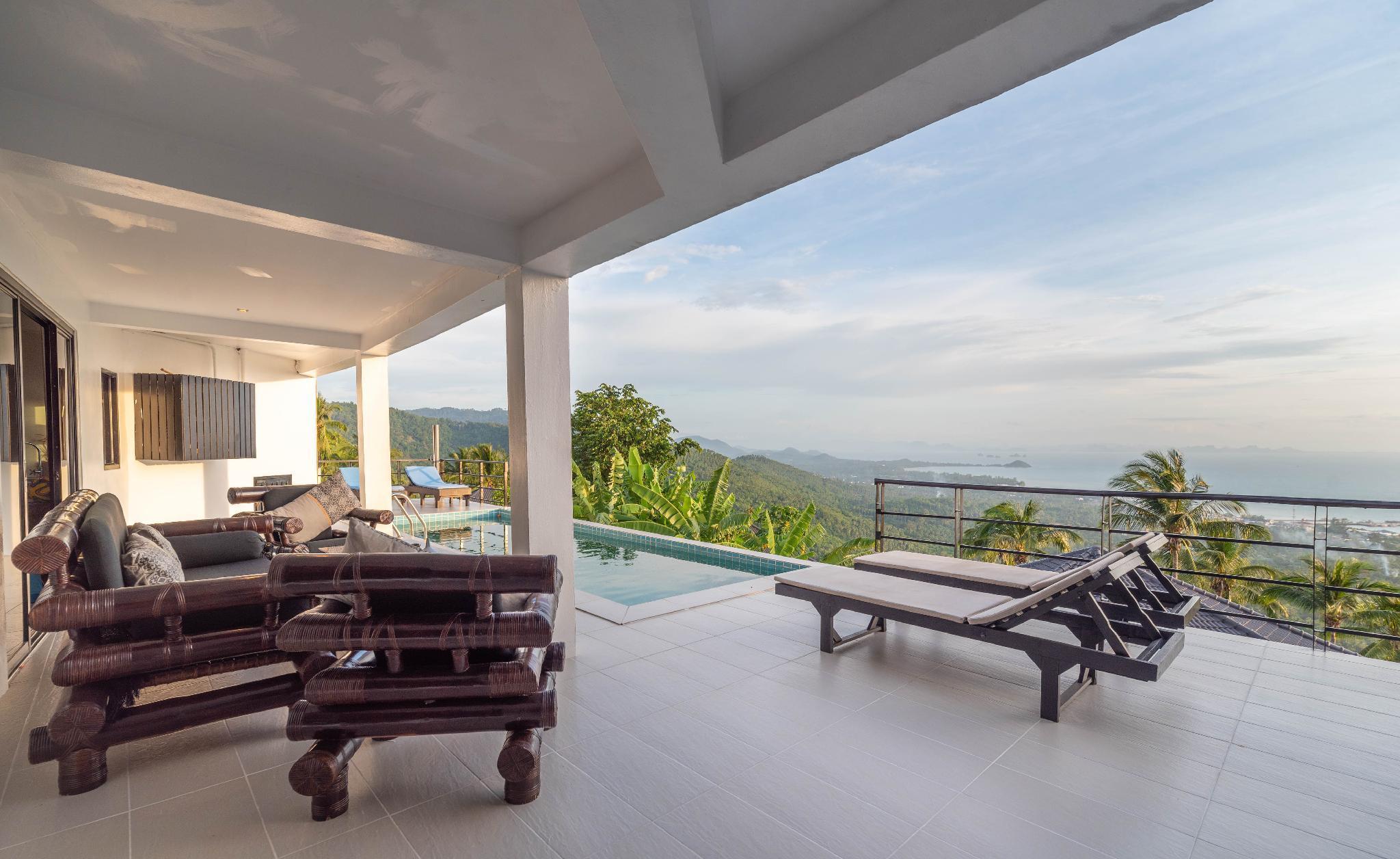 Panorama Villa 3BR-Private Pool & Sea Sunset View วิลลา 3 ห้องนอน 3 ห้องน้ำส่วนตัว ขนาด 200 ตร.ม. – หน้าทอน