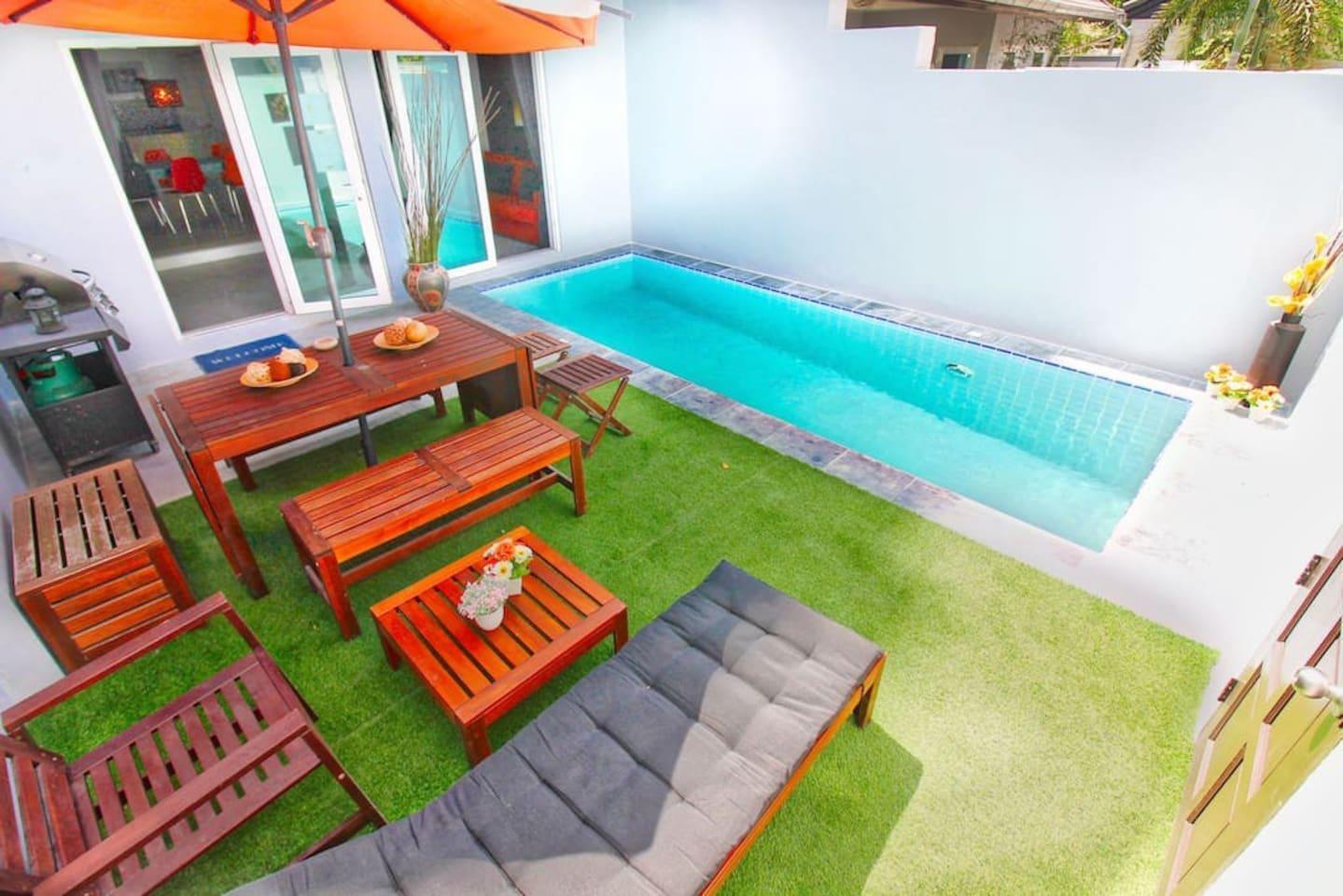 Hideaway Pool Villa - Cozy villa near BEACH! บ้านเดี่ยว 2 ห้องนอน 1 ห้องน้ำส่วนตัว ขนาด 50 ตร.ม. – เขาพระตำหนัก